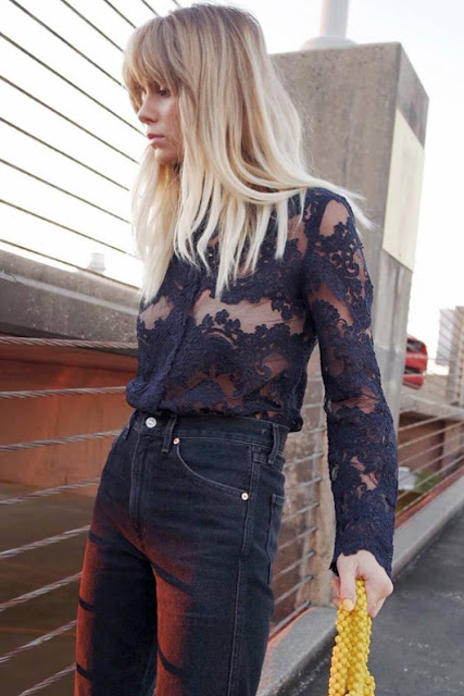 Sheer Lace Blouse + High-Rise Jeans + Statement Bag
