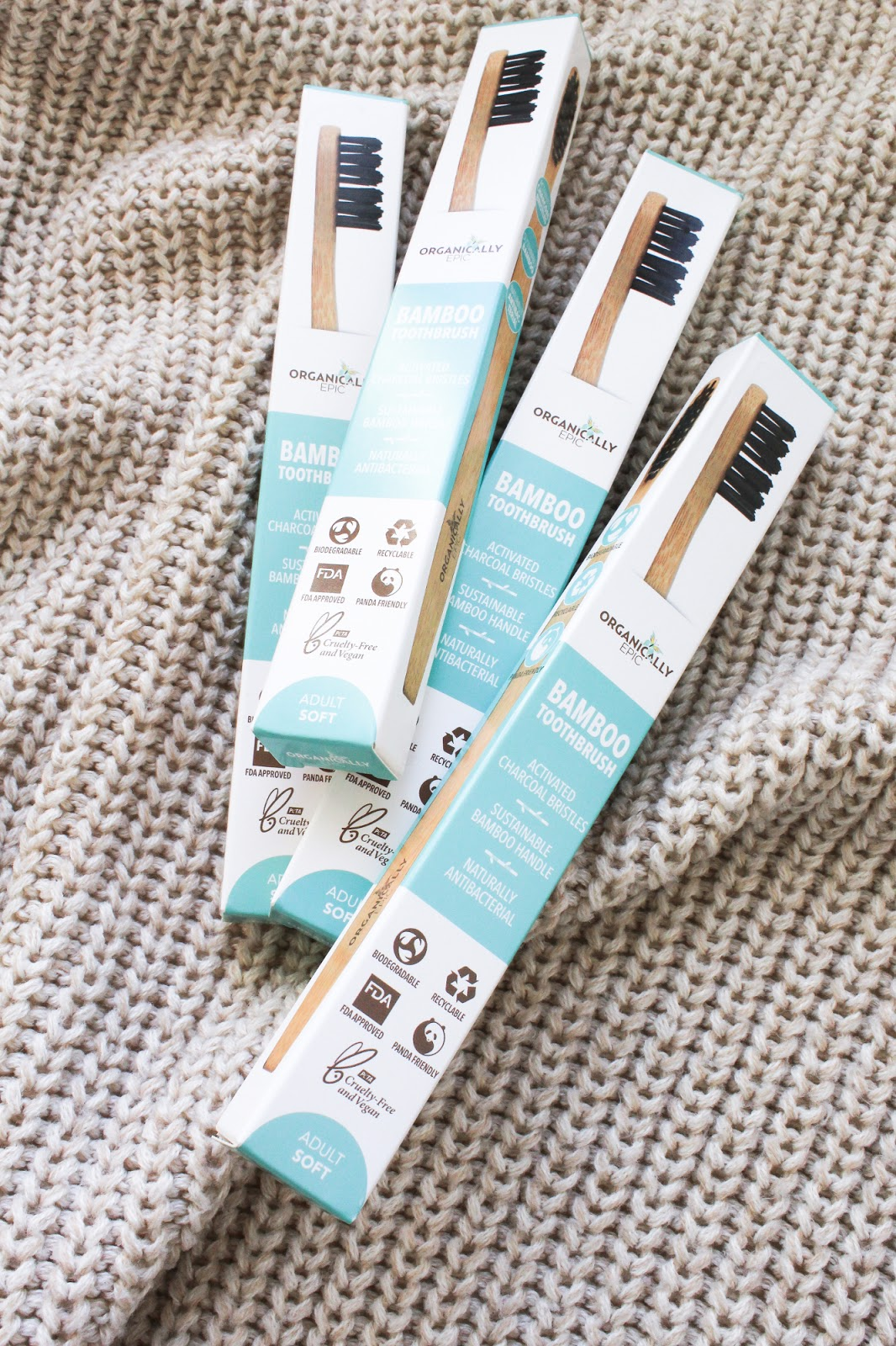 Organically Epic 4 Pack Toothbrushes Activated Charcoal Bristles, Panda Friendly, Biodegradable. Use less plastic. Love Lula