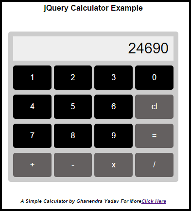how to make calculator in jquery and html addition