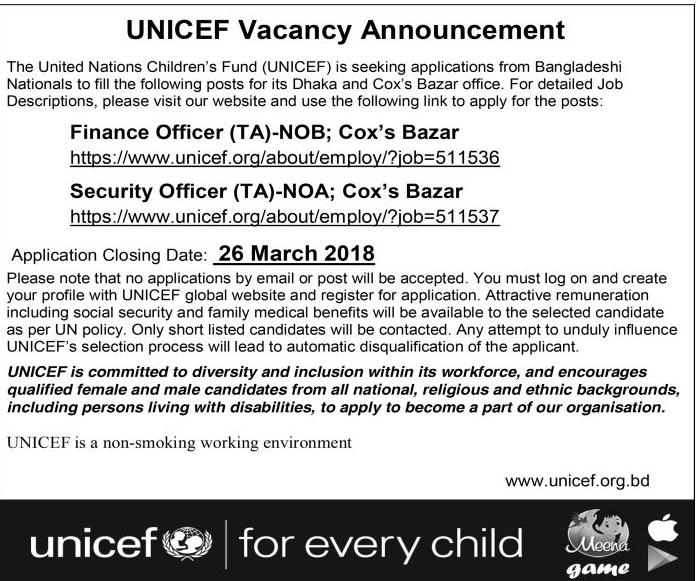 UNICEF Bangladesh Job circular 2018