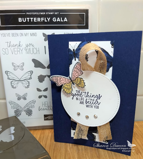 Butterfly Gala, Rhapsody in craft, Butterfly duet punch, botanic butterfly dsp, night of navy, colour creations blog hop, art with heart