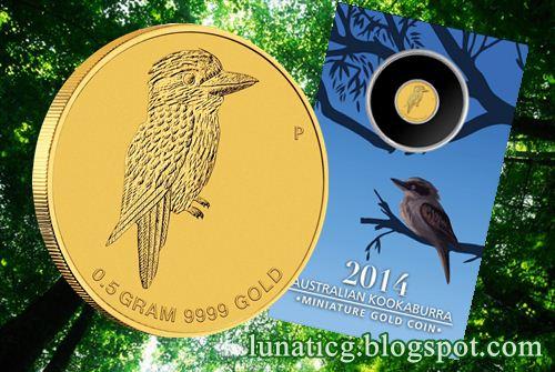 2014 Australian Kookaburra Miniature Gold Coin Lunaticg Coin