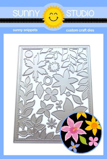 Sunny Studio Stamps Botanical Backdrop Dies with Leafy Stitched Frame & Layered Floral Flowers