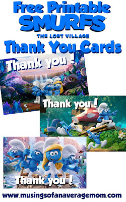 free printable smurfs thank you cards