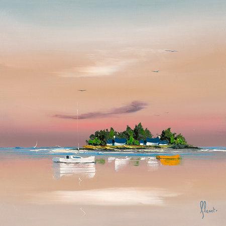 Pôr do Sol sobre o Golfo ll - Frédéric Flanet e suas belas pinturas com paisagem de praias