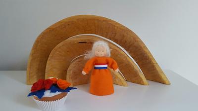 Cupcake free felt pattern Kingsdag Atelier de Vier Jaargetijden gratis vilt patroon