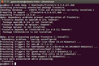 pic of dpkg failing to install frostwire due to missing openjdk-8-jre, lib32stdc++6 (>= 4.8.1), and mplayer