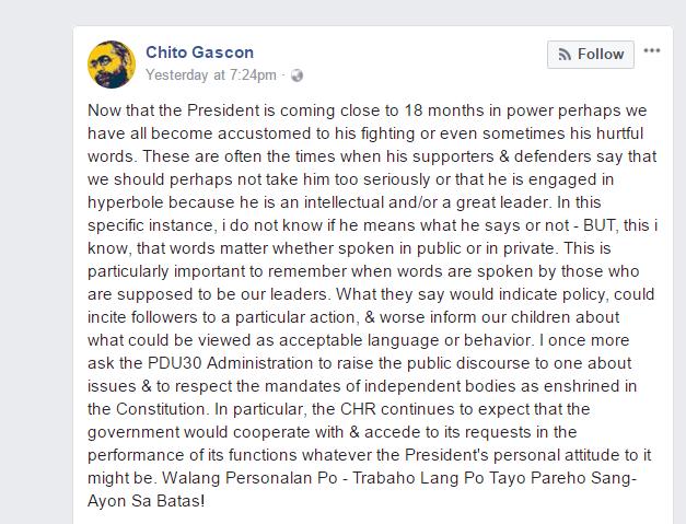 CHR Gascon to President Duterte | Trabaho lang walang personalan