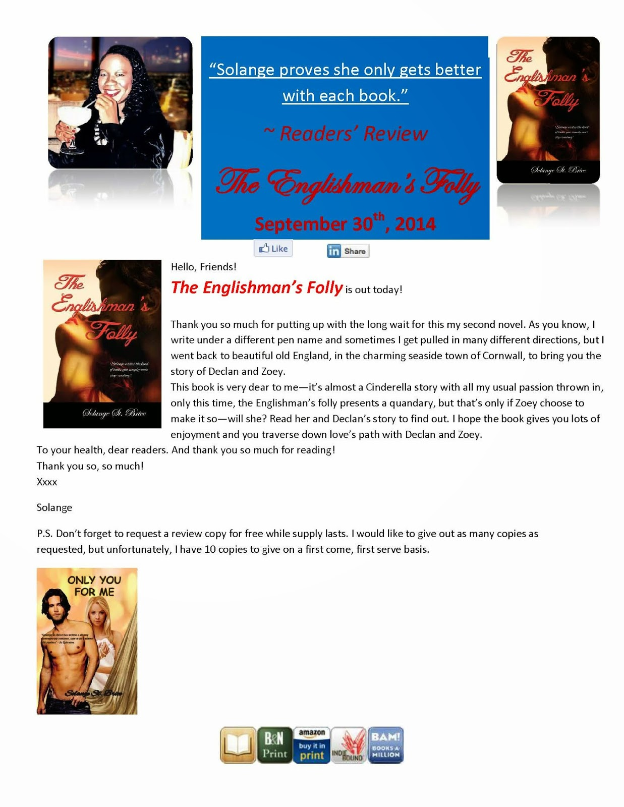 http://www.amazon.com/Englishmans-Folly-Solange-St-Brice-ebook/dp/B00MSPCQMK/ref=sr_1_1?s=books&ie=UTF8&qid=1412203609&sr=1-1&keywords=solange+st.+brice