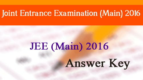 jee main 2016 Answer key, solution