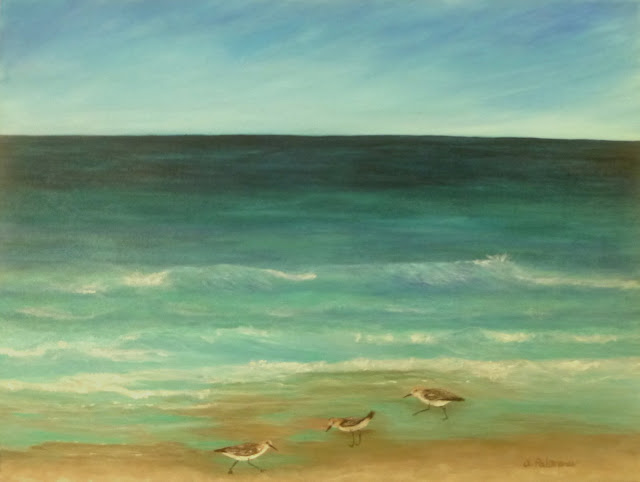 Sand Piper by the Ocean Beach Painting