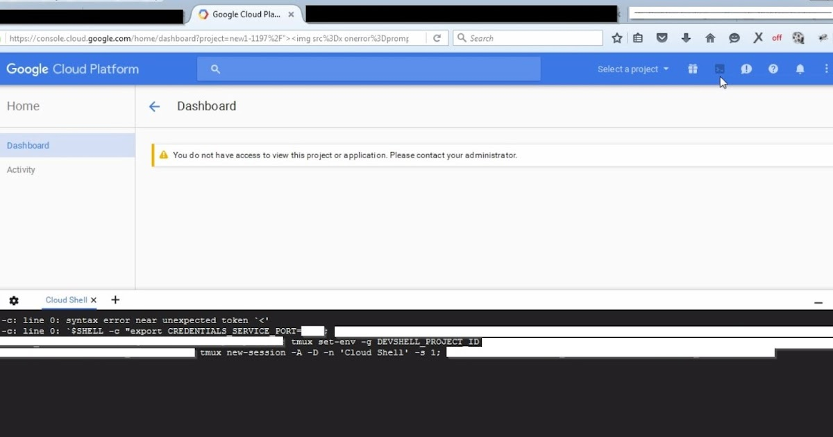 White hacker command injection in google console for Google console