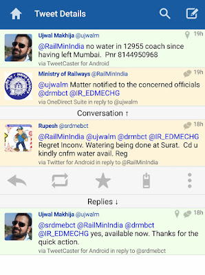 Twitter Conversation with RailMinIndia