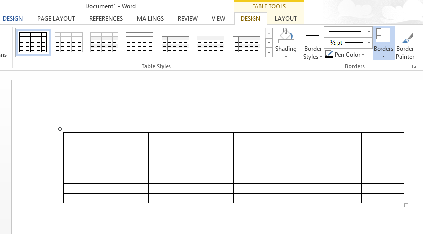 table appearance for creating simple chore chart in Word