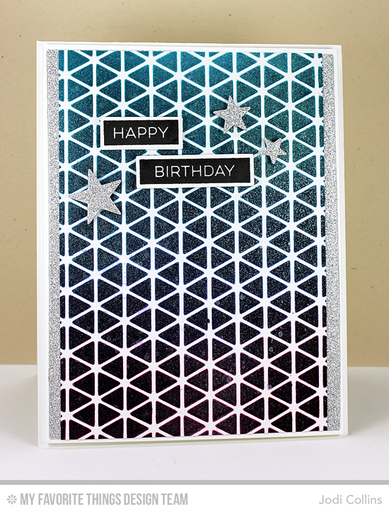 Handmade card from Jodi Collins featuring Birdie Label Maker Sentiments stamp set, Label Tape, Blueprints 1, Blueprints 2, Blueprints 8, and Blueprints 13 Die-namics, and Geometric Grid stencil #mftstamps