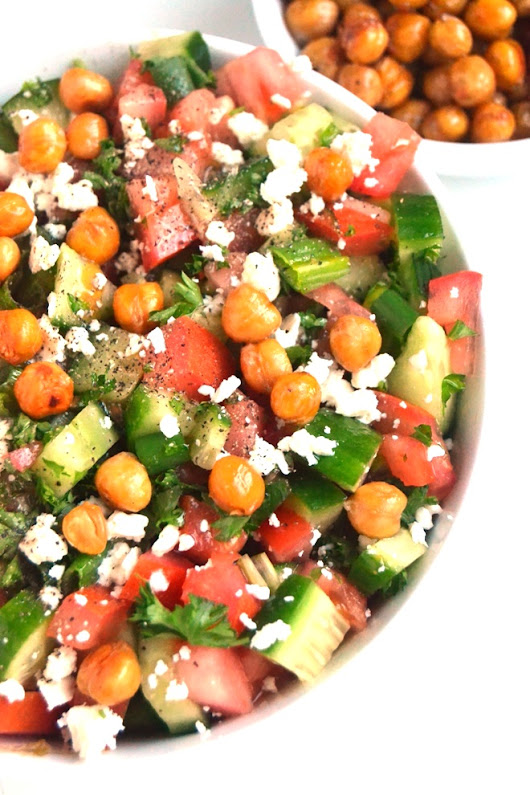 Greek Chopped Salad with Roasted Chickpeas