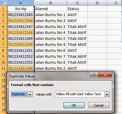cara mencari duplikat data di excel