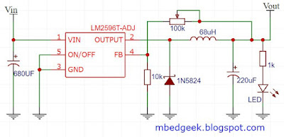 LM2596 Adjustable Buck Converter Schematic
