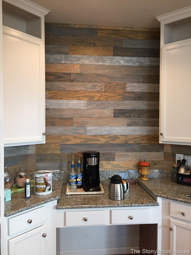 coffee bar plank wall