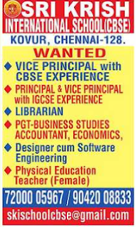 Sri Krish International School Wanted Principal/Vice-Principal/PGT