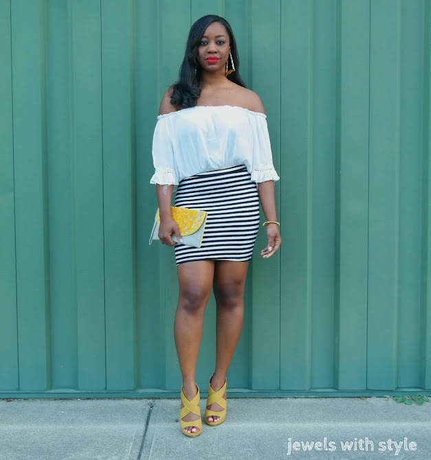 summer trends in fashion, summer 2017 trends, spring trends, summer trends for women, 2017 trends, warm weather outfits, off the shoulder outfit, striped skirt outfit, white off the shoulder shirt, yellow sandals, how to wear off the shoulder, columbus ohio wardrobe stylist, jewels with style, black and white outfit, outfit ideas black and white