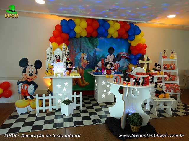 Decoração festa de aniversário Mickey - Mesa provençal simples