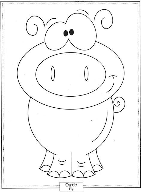 Desenho de Porco para pintar