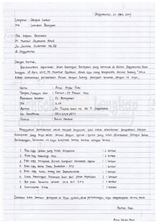 Contoh Surat Lamaran Kerja Resmi Tulis Tangan
