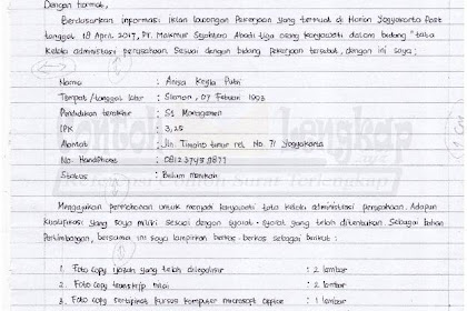 Contoh Surat Lamaran Kerja Tulis Tangan Kertas Folio Dan Hvs