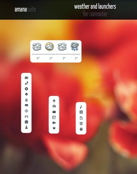 Amana Launchers and Weather Widget For Rainmeter - Cleodesktop I
