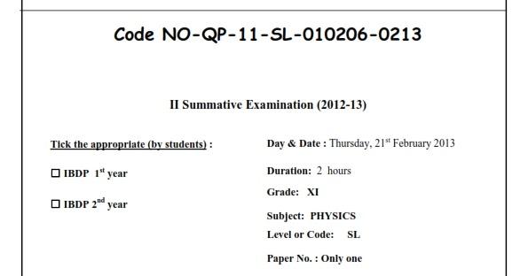 Dr  N  Nagesh: IBDP QP - Gr-11- Code NO-QP-11-SL-010206-0213