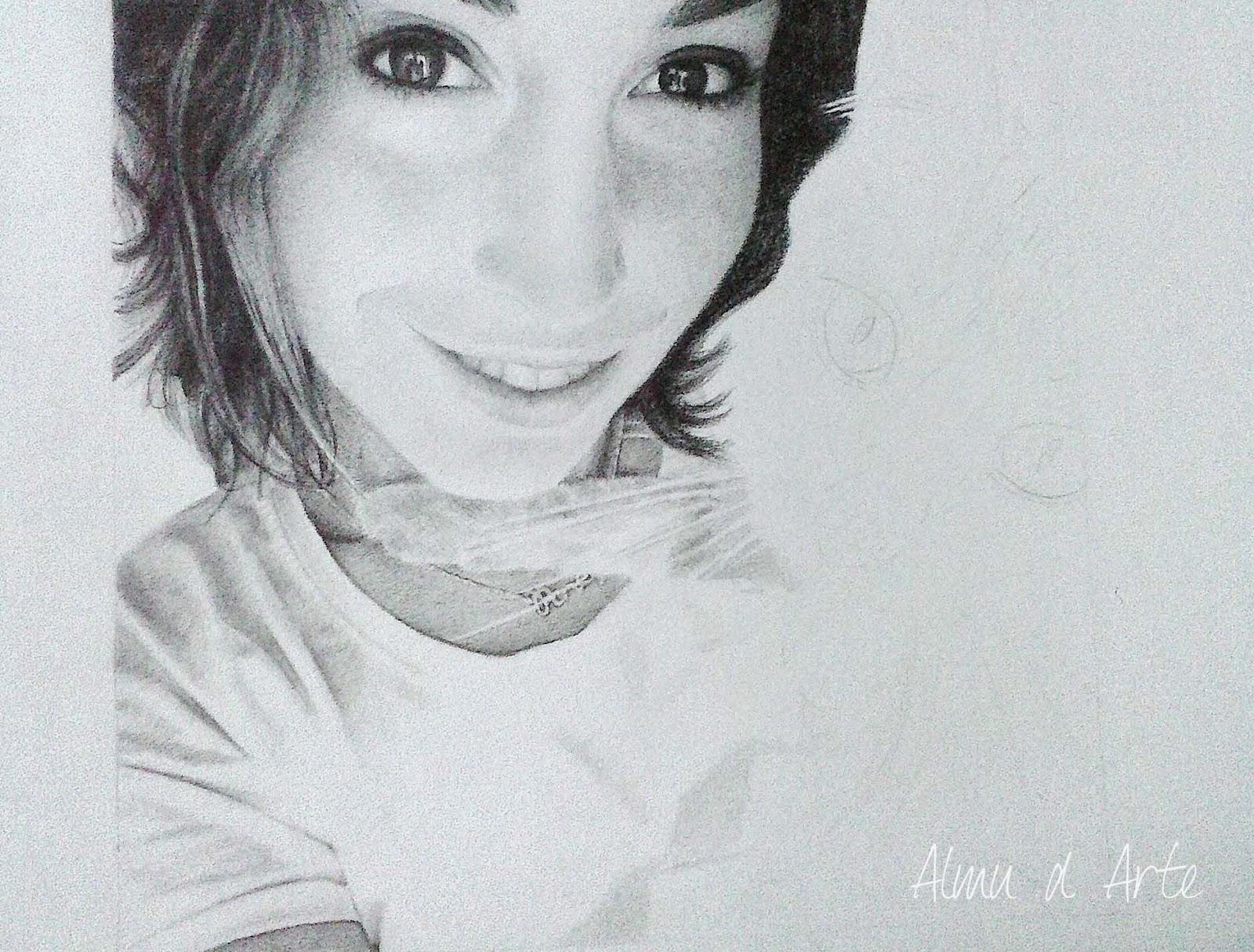 Dibujo a lápiz de Alma Obregón