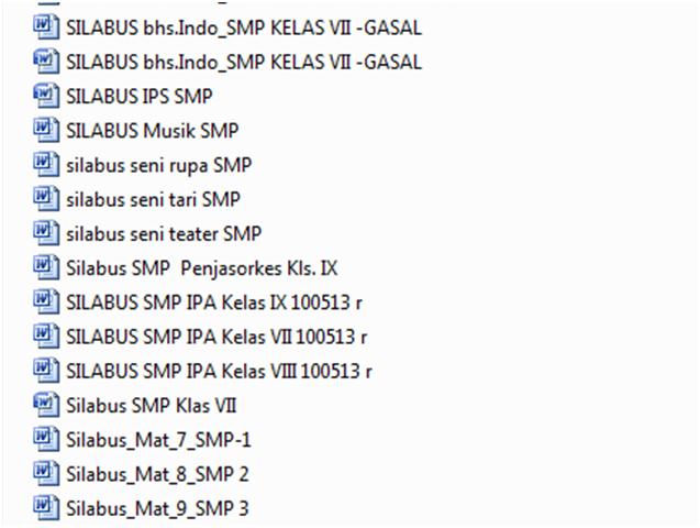 Kumpulan Silabus SMP / MTs Lengkap