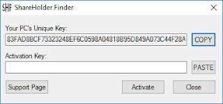 ShareHolder Finder Keys Window