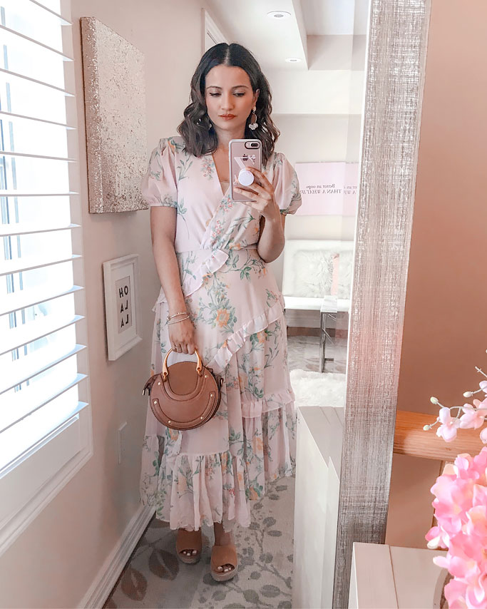 Summer 2018 Cute Summer Dress Blogger Outfit Pink Ruffle Dress Shein Chloe Dupe Pixie Circle Bag