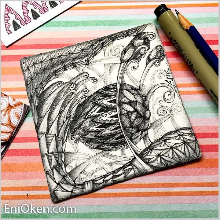 05-3D-Grids-Eni-Oken-Ink-and-Pencil-Fantasy-and-Zentangle-Drawings-www-designstack-co