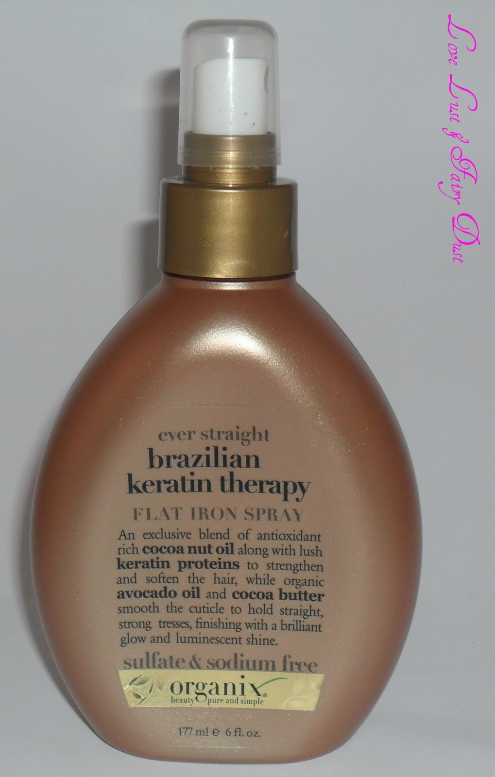 organix brazilian therapy flat iron spray