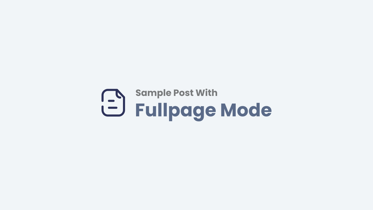 Post with Fullpage Mode