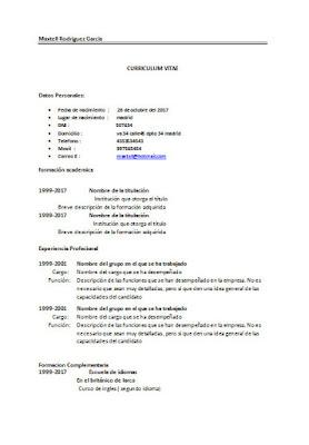 Ejemplo de curriculum vitae Basico | simple