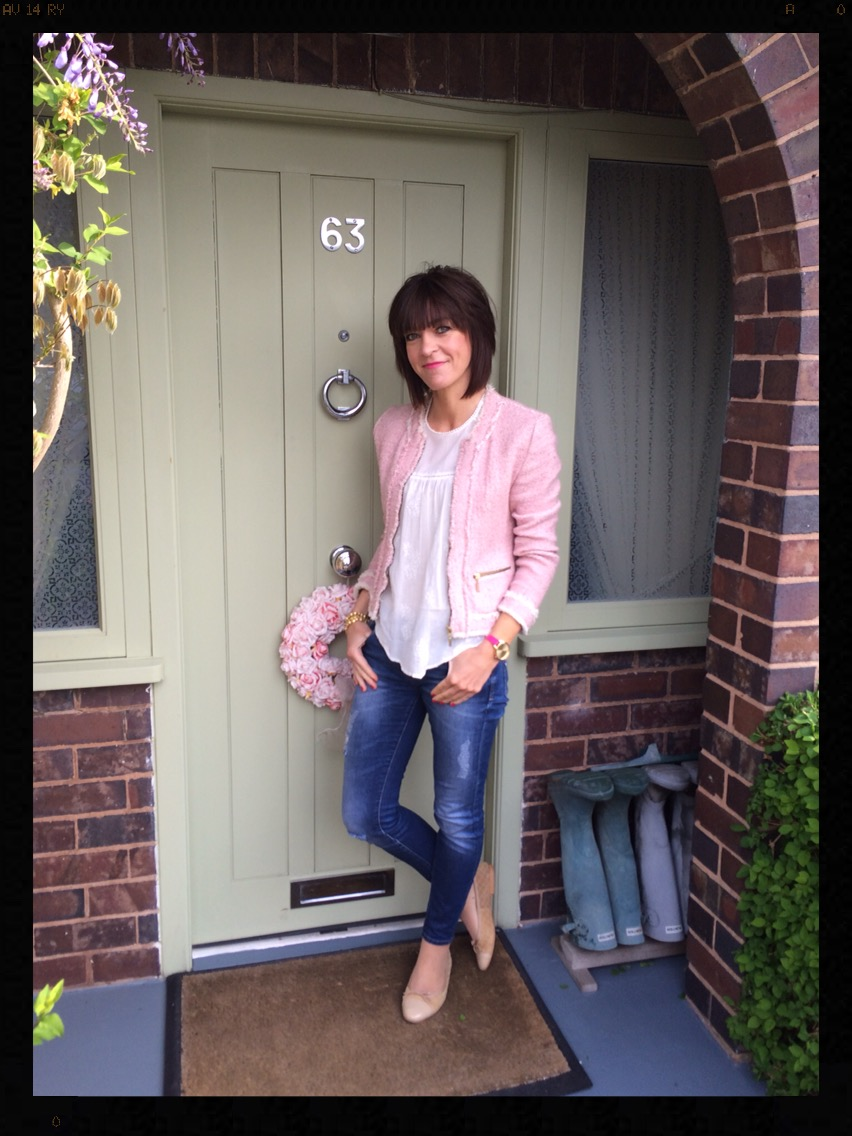 My Midlife Fashion, Boucle, Skinny Jeans, Distressed Denim, Zara, Olivia Burton, Ballet Shoes, Ballet Pumps