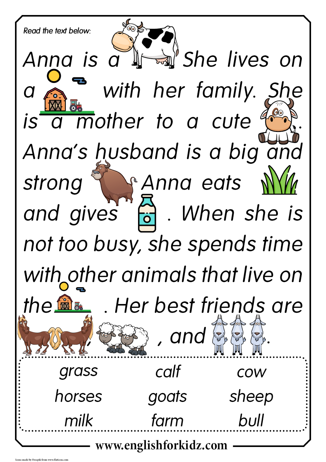 - Reading Comprehension Worksheets: Anna The Cow