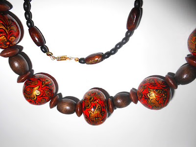 Original beaded Necklace of wooden beads in Russian folk style Khokhloma in handmade