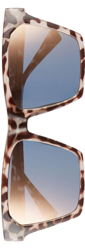 Quay x Missguided Alright 55mm Square Sunglasses Tort/Gold