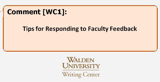 Walden Writing Center tips for responding to faculty feedback