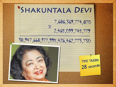 Shakuntla Devi was accredited with the title 'The human calculator' was also from India