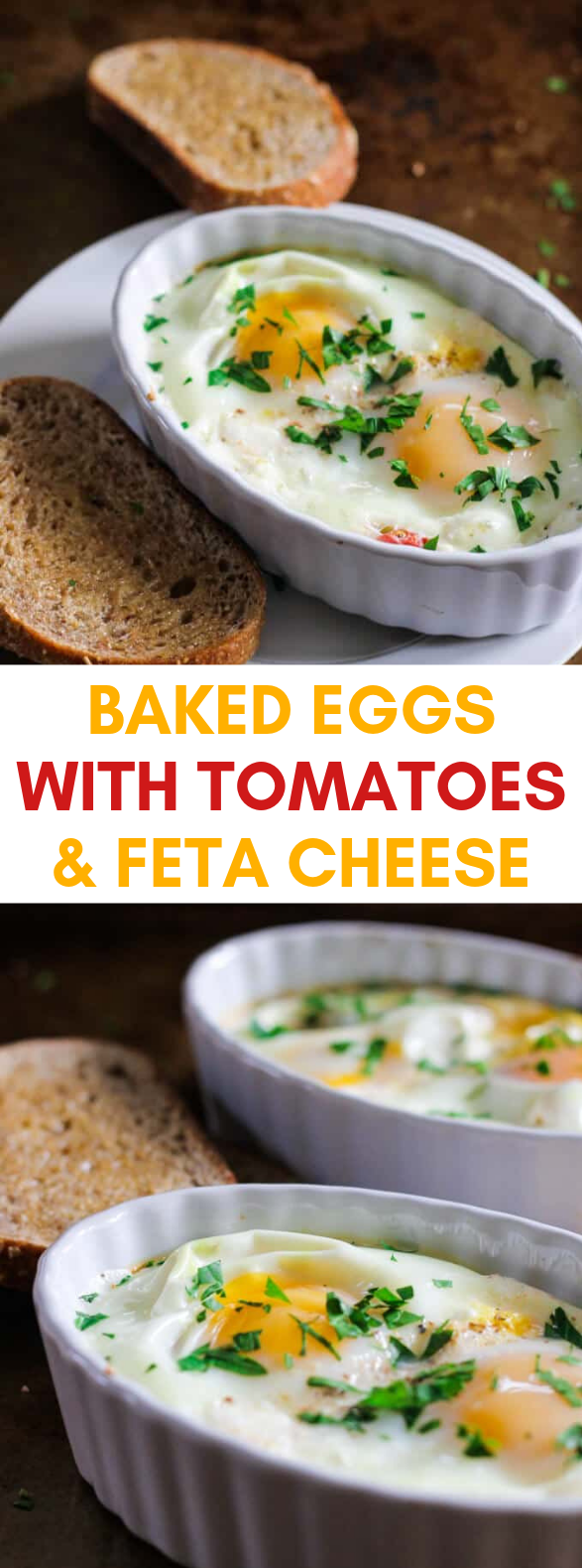 BAKED EGGS WITH TOMATOES AND FETA CHEESE #diet #breakfast