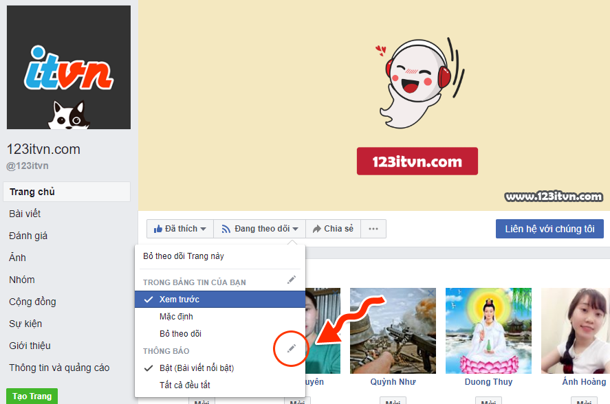 Bật nhận thông báo từ group và fanpage trên facebook