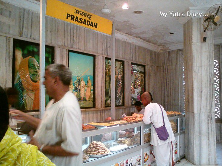 Food stall in ISKCON temple, Vrindavan