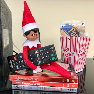 Elf on the Shelf holiday movie night