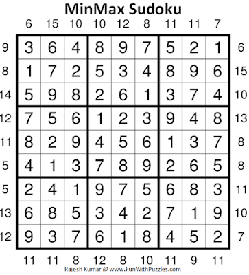 Answer of MinMax Sudoku Puzzles (Fun With Sudoku #368)
